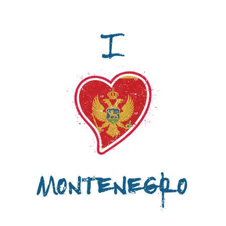 Montenegrin flag patriotic t-shirt design. Heart shaped national flag Montenegro on white background. Vector illustration.