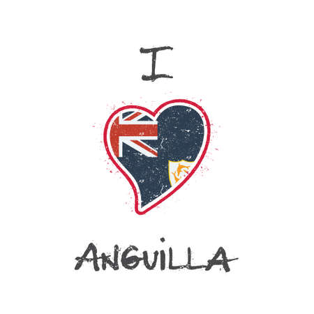 Anguillian flag patriotic t-shirt design. Heart shaped national flag Anguilla on white background. Vector illustration. Illustration