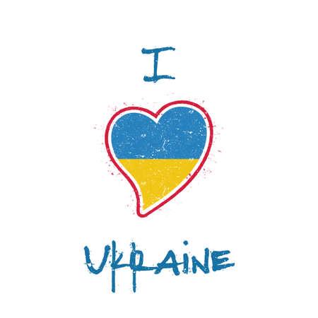 Ukrainian flag patriotic t-shirt design. Heart shaped national flag Ukraine on white background. Vector illustration. Illustration