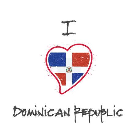Dominican flag patriotic t-shirt design. Heart shaped national flag Dominican Republic on white background. Vector illustration. Vektoros illusztráció