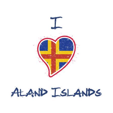 Swedish flag patriotic t-shirt design. Heart shaped national flag Aland Islands on white background. Vector illustration. Illustration