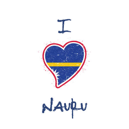 Nauruan flag patriotic t-shirt design. Heart shaped national flag Nauru on white background. Vector illustration. Illustration