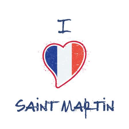 Saint Martin Islander flag patriotic t-shirt design. Heart shaped national flag Saint Martin on white background. Vector illustration. Illustration