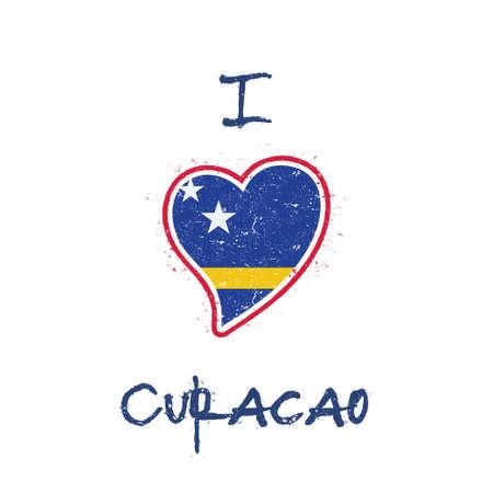 Dutch flag patriotic t-shirt design. Heart shaped national flag Curacao on white background. Vector illustration. Иллюстрация