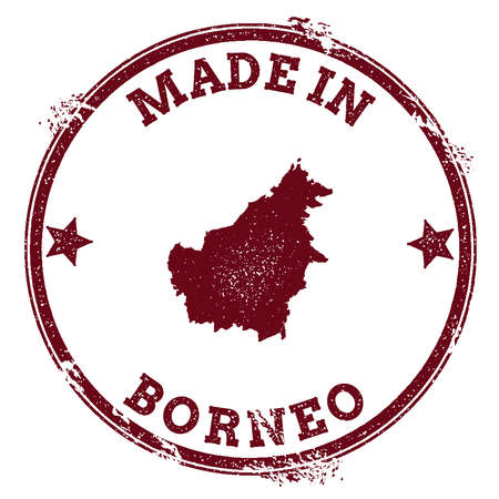 Borneo seal. Vintage island map sticker. Grunge rubber stamp with Made in text and map outline, vector illustration.