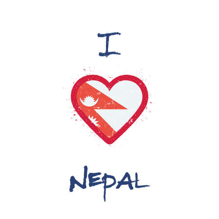 I love Nepal t-shirt design. Nepalese flag in the shape of heart on white background. Grunge vector illustration.