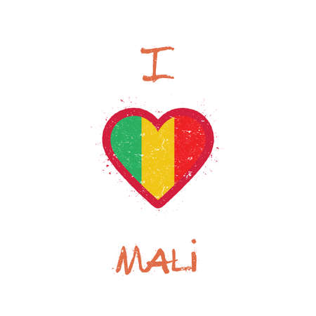 I love Mali t-shirt design. Malian flag in the shape of heart on white background. Grunge vector illustration. Çizim