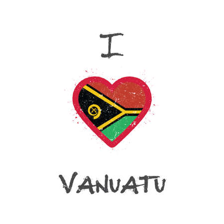 I love Vanuatu t-shirt design. Ni-Vanuatu flag in the shape of heart on white background. Grunge vector illustration.
