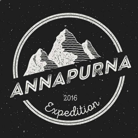 Mountain Annapurna outdoor adventure insignia. Climbing, trekking, hiking, mountaineering and other extreme activities logo template. 일러스트