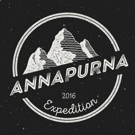 Mountain Annapurna outdoor adventure insignia. Climbing, trekking, hiking, mountaineering and other extreme activities logo template. Illustration