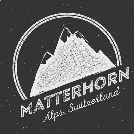 Mountain Mattehorn outdoor adventure insignia. Climbing, trekking, hiking, mountaineering and other extreme activities logo template.