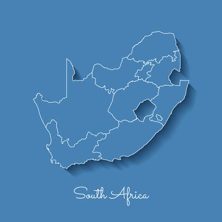 South Africa region map: blue with white outline and shadow on blue background. Detailed map of South Africa regions vector illustration. Illustration