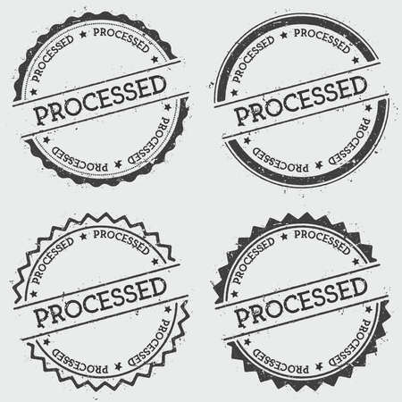 Processed insignia stamp isolated on white background. Round hipster seal with