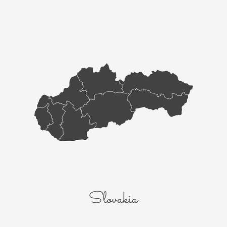 Slovakia region map: grey outline on white background. Detailed map of Slovakia regions. Vector illustration. 向量圖像