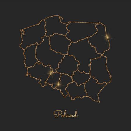 Poland region map: golden glitter outline with sparkling stars on dark background. Detailed map of Poland regions. Vector illustration.
