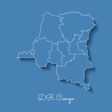 DR Congo region map on blue with white outline and shadow on blue background. Detailed map of DR Congo regions Vector illustration.