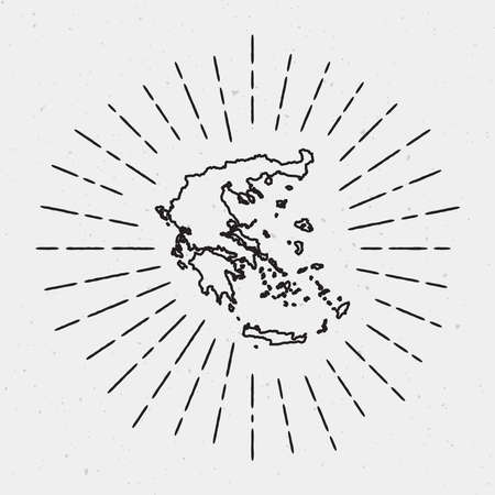 Vector Greece Map Outline with Retro Sunburst Border. Hand Drawn Hipster Decoration Element. Black Radiant Light Rays on White Background.