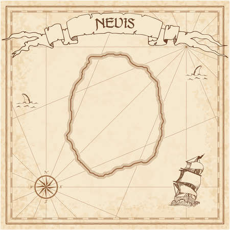 Nevis old treasure map. Sepia engraved template of pirate island parchment. Stylized manuscript on vintage paper.
