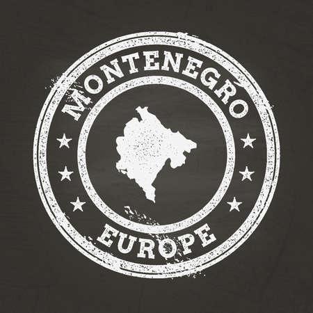 White chalk texture grunge stamp with Montenegro map Ilustração