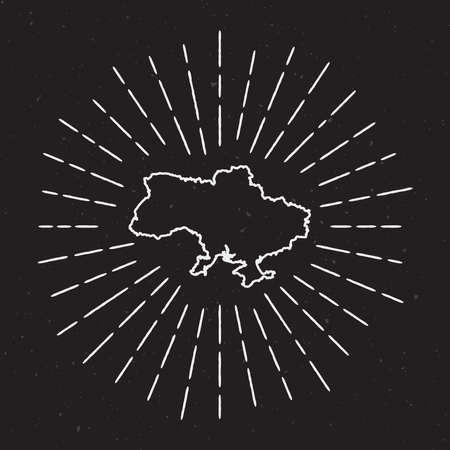 Ukraine Vector Map Outline with Vintage Sunburst Border. Hand Drawn Map with Hipster Decoration Element. Radiant Light Rays around country Map on Black Background. Illustration