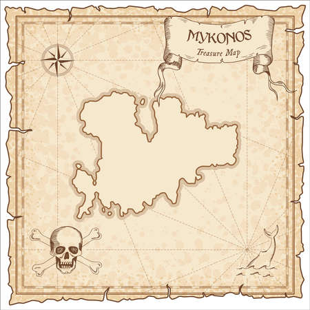Mykonos old pirate map. Sepia engraved parchment template of treasure island. Stylized manuscript on vintage paper.