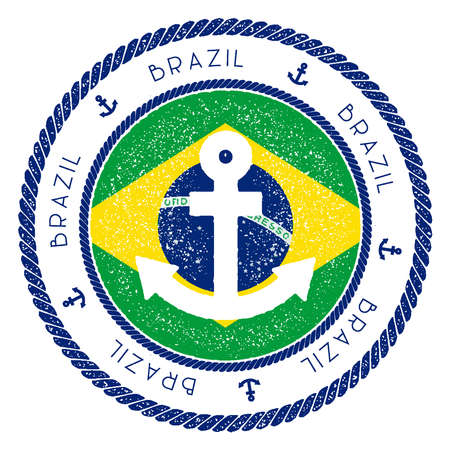 Nautical Travel Stamp with Brazil Flag and Anchor. Marine rubber stamp, with round rope border and anchor symbol on flag background. Vector illustration.