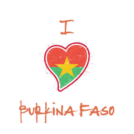 Burkinabe flag patriotic t-shirt design. Heart shaped national flag Burkina Faso on white background. Vector illustration. Çizim