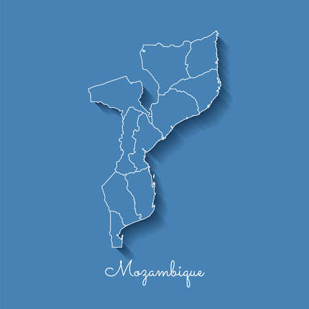 Mozambique region map: blue with white outline and shadow on blue background. Detailed map of Mozambique regions. Vector illustration.