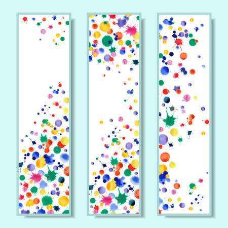 Watercolor vector confetti design. Abstract background with colorful scattered bright expressive stains. Bright banners with rainbow blots. Hand drawn watercolor confetti cards.