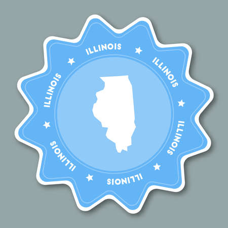 Illinois map sticker in trendy colors. Travel sticker with US state name and map. Can be used as logo, badge, label, tag, sign, stamp or emblem. Travel badge vector illustration.