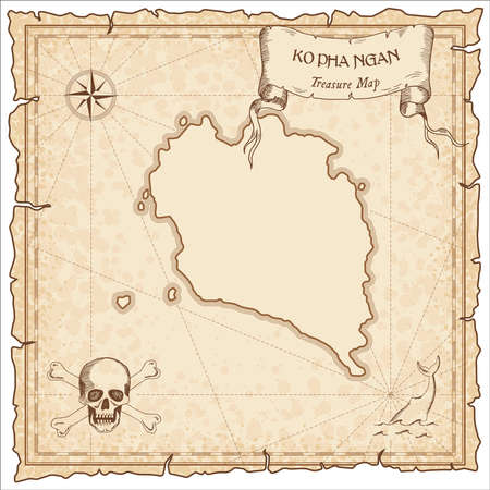 Ko Pha Ngan old pirate map. Sepia engraved parchment template of treasure island. Stylized manuscript on vintage paper.