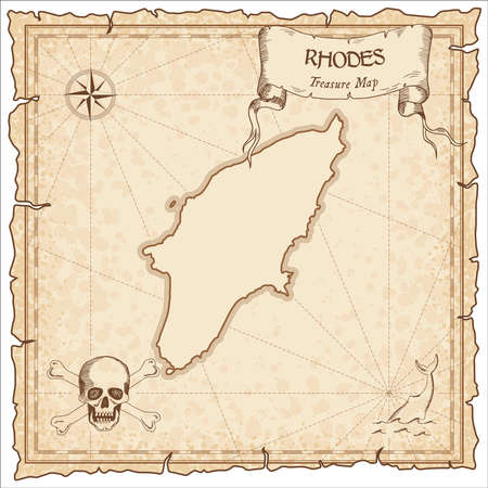 Rhodes old pirate map. Sepia engraved parchment template of treasure island. Stylized manuscript on vintage paper.