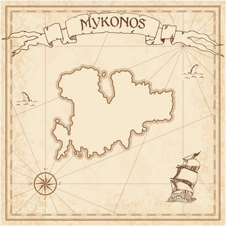 Mykonos old treasure map. Sepia engraved template of pirate island parchment. Stylized manuscript on vintage paper.