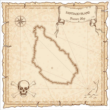Santiago Island old pirate map. Sepia engraved parchment template of treasure island. Stylized manuscript on vintage paper.