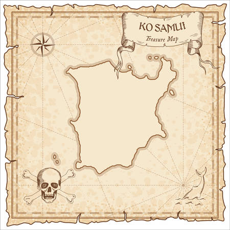 Ko Samui old pirate map. Sepia engraved parchment template of treasure island. Stylized manuscript on vintage paper.