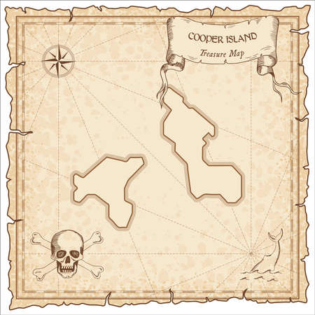 Cooper Island old pirate map. Sepia engraved parchment template of treasure island. Stylized manuscript on vintage paper. Vettoriali