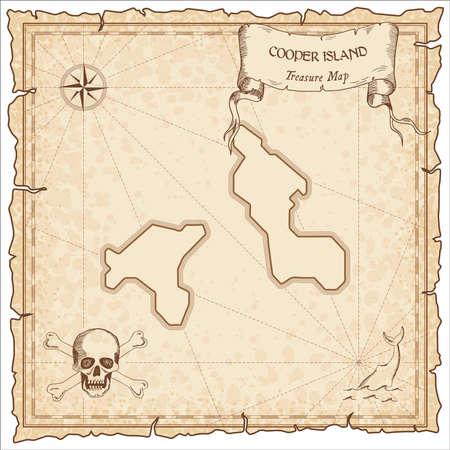Vecchia mappa pirata di Cooper Island. Modello di pergamena incisa seppia dell'isola del tesoro. Manoscritto stilizzato su carta vintage. Vettoriali