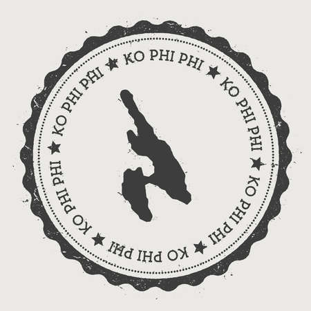 Ko Phi Phi sticker. Hipster round rubber stamp with island map. Vintage passport sign with circular text and stars, vector illustration.