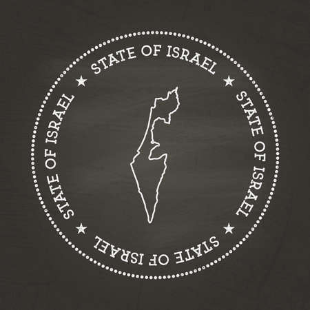 White chalk texture vintage seal with State of Israel map on a school blackboard. Grunge rubber seal with country map outline, vector illustration.