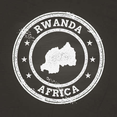 White chalk texture grunge stamp with Republic of Rwanda map on a school blackboard. Grunge rubber seal with country map outline, vector illustration. Vettoriali