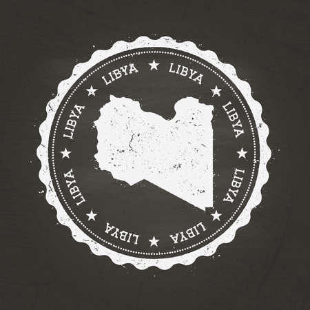White chalk texture rubber stamp with Libya map on a school blackboard. Grunge rubber seal with country map outline, vector illustration.