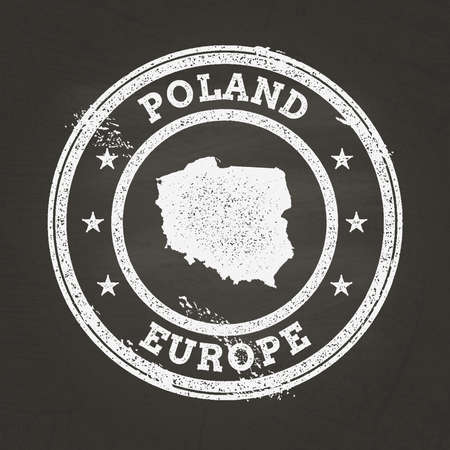 White chalk texture grunge stamp with Republic of Poland map on a school blackboard. Grunge rubber seal with country map outline, vector illustration. Ilustrace