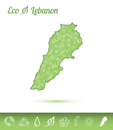 Lebanon eco map filled with green pattern. Green counrty map with ecology concept design elements. Vector illustration.
