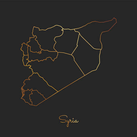 Syria region map: golden gradient outline on dark background. Detailed map of Syria regions. Vector illustration.