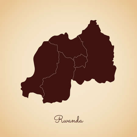 Rwanda region map: retro style brown outline on old paper background. Detailed map of Rwanda regions. Vector illustration. Иллюстрация