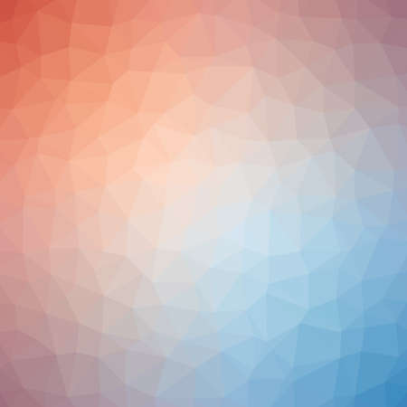 Low poly pattern design. Medium cells. Vector polygonal background filled with red to blue gradient. Geometric style poster backdrop.