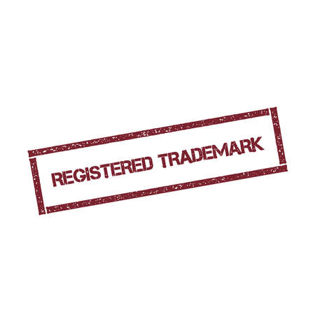 Registered trademark rectangular stamp. Textured red seal with text isolated on white background, vector illustration.