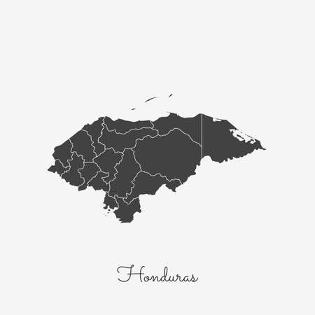 Honduras region map: grey outline on white background. Detailed map of Honduras regions. Vector illustration. Иллюстрация