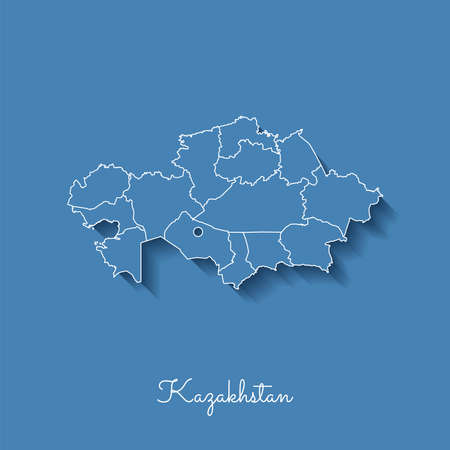 Kazakhstan region map: blue with white outline and shadow on blue background. Detailed map of Kazakhstan regions. Vector illustration. Illustration