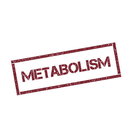 Metabolism rectangular stamp. Textured red seal with text isolated on white background, vector illustration.